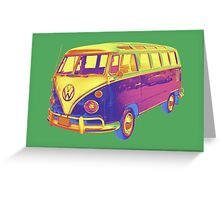 Classic VW 21 window Mini Bus Pop Art Image Greeting Card