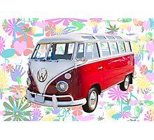 VW 21 window Mini Bus And Hippie Background Photographic Print