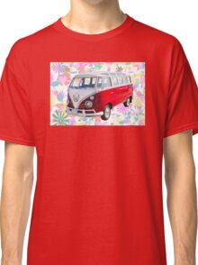 VW 21 window Mini Bus And Hippie Background Classic T-Shirt
