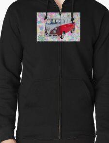 VW 21 window Mini Bus And Hippie Background T-Shirt