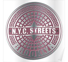 Manhole Covers Brooklyn Pink Poster