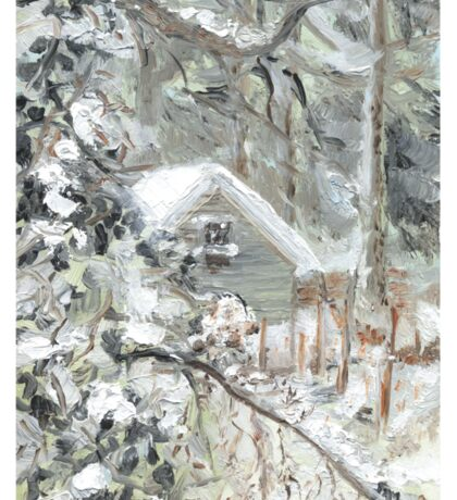 Workshed past the garden in Snow Sticker