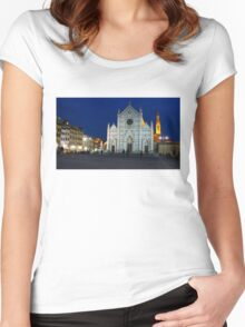 Blue Hour - Santa Croce Church in Florence, Italy Women's Fitted Scoop T-Shirt
