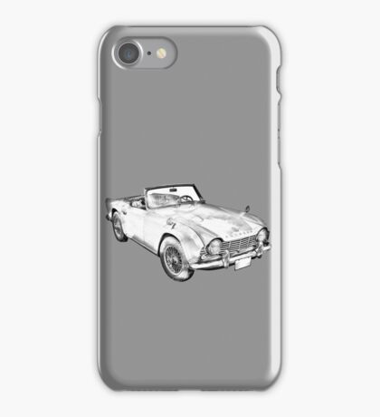 Illustration Of Triumph Tr4 Sports Car iPhone Case/Skin