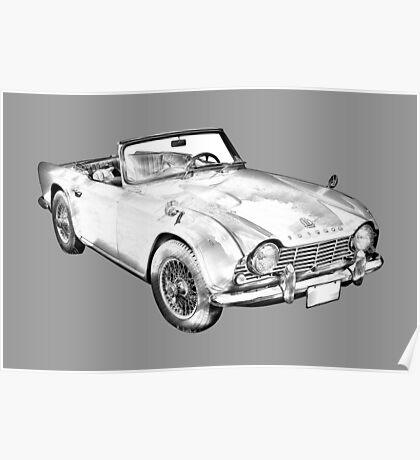 Illustration Of Triumph Tr4 Sports Car Poster