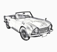 Illustration Of Triumph Tr4 Sports Car Kids Clothes