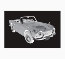 Black And White Triumph Tr4  Sports Car One Piece - Short Sleeve