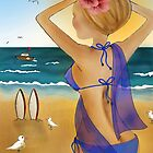 Beach Babe with Sarong by Kristy Spring-Brown