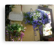Hanging basket of lobelia  Canvas Print