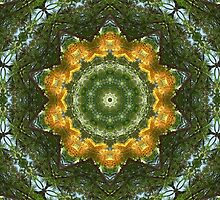 Yellow Tree Flower Kaleidoscope Art 1 by Christopher Johnson