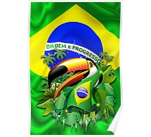 Toco Toucan with Brazil Flag Poster