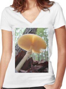 """Destroying Angel "" Parasol Mushroom Women's Fitted V-Neck T-Shirt"