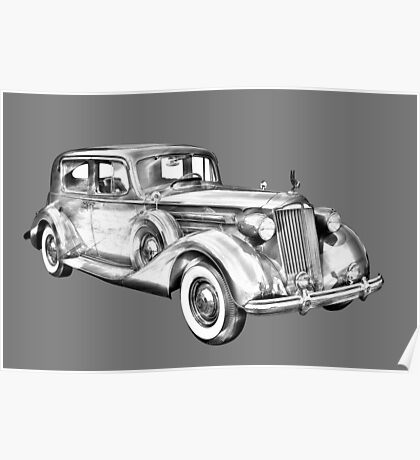 Packard Luxury Antique Car Illustration Poster