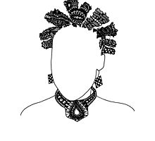 Pen & Ink  Drawing Bantu Knots Photographic Print