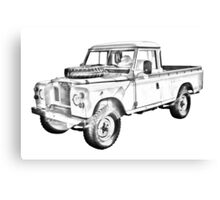 1971 Land Rover Pick up Truck Drawing Canvas Print