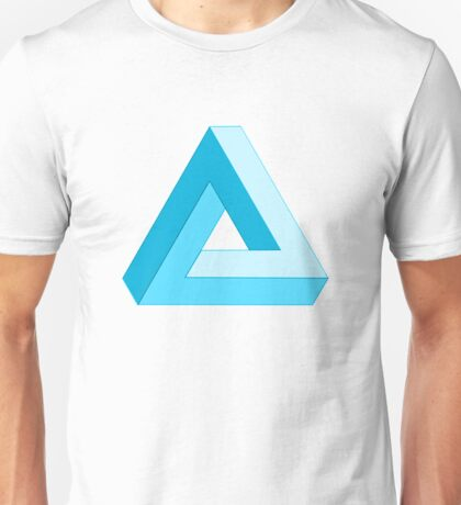 The impossible triangle ( blue )  Unisex T-Shirt