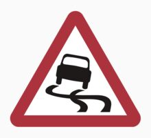 Slippery Road Warning Triangle Road Sign by ukedward