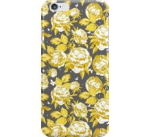 Abstract gold white gray floral pattern  iPhone Case/Skin