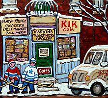 HOCKEY ART PAINTINGS MONTREAL DEPANNEUR BEST CANADIAN PAINTINGS by Carole  Spandau
