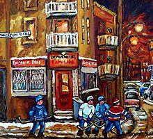 MONTREAL NIGHT SCENES IN WINTER WITH HOCKEY NEAR DEPANNEUR BEST CANADIAN ART by Carole  Spandau