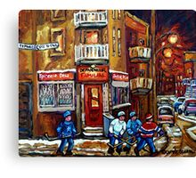 MONTREAL NIGHT SCENES IN WINTER WITH HOCKEY NEAR DEPANNEUR BEST CANADIAN ART Canvas Print