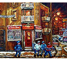 MONTREAL NIGHT SCENES IN WINTER WITH HOCKEY NEAR DEPANNEUR BEST CANADIAN ART Photographic Print