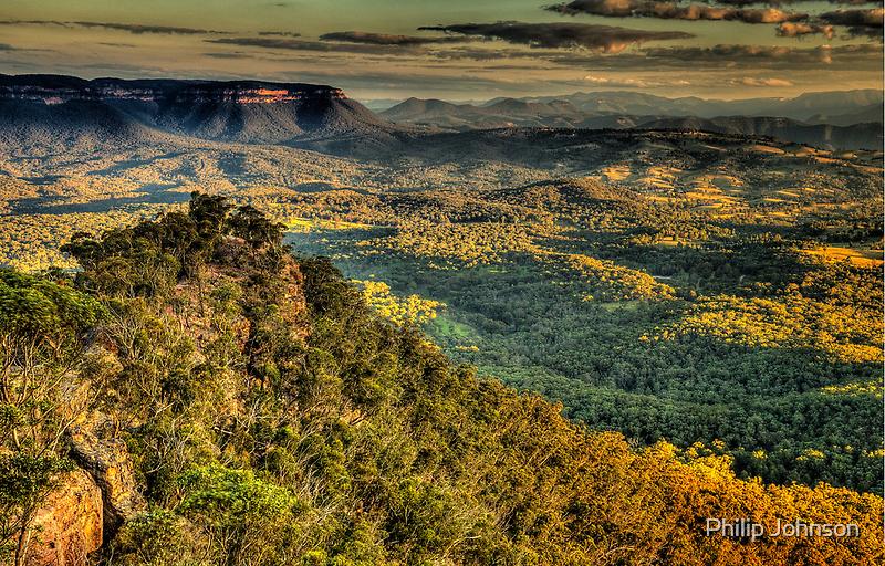 I Love Her Far Horizons (25 Shot HDR Pano)- Shippley Plateau, Blue Mountains  by Philip Johnson