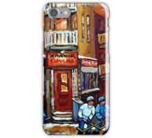MONTREAL NIGHT SCENES IN WINTER WITH HOCKEY NEAR DEPANNEUR BEST CANADIAN ART iPhone Case/Skin
