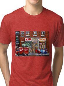 HOCKEY GAME AT DEPANNEUR VILLENEUVE HOCKEYART MONTREAL WINTER SCENES BEST MONTREAL ART Tri-blend T-Shirt