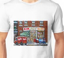 HOCKEY GAME AT DEPANNEUR VILLENEUVE HOCKEYART MONTREAL WINTER SCENES BEST MONTREAL ART Unisex T-Shirt