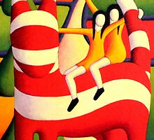 Genetic cat in landscape with girls by Alan Kenny