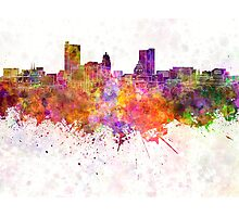 Fort Wayne skyline in watercolor background Photographic Print