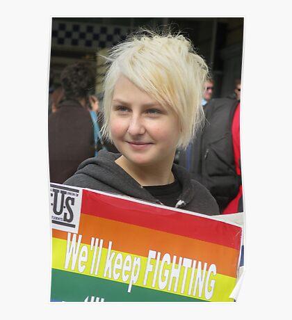 Protestor at Gay Rally Poster