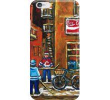 NIGHT SCENE HOCKEY ART PAINTINGS MONTREAL DEPANNEURS BEST CANADIAN ART iPhone Case/Skin