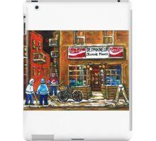 NIGHT SCENE HOCKEY ART PAINTINGS MONTREAL DEPANNEURS BEST CANADIAN ART iPad Case/Skin