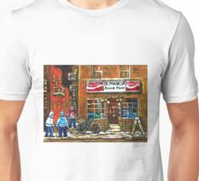 NIGHT SCENE HOCKEY ART PAINTINGS MONTREAL DEPANNEURS BEST CANADIAN ART Unisex T-Shirt