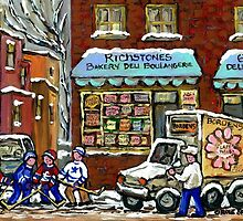VINTAGE MONTREAL BAKERY RICHSTONE BOULANGERIE HOCKEY PAINTINGS WINTER URBAN SCENES by Carole  Spandau