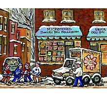VINTAGE MONTREAL BAKERY RICHSTONE BOULANGERIE HOCKEY PAINTINGS WINTER URBAN SCENES Photographic Print