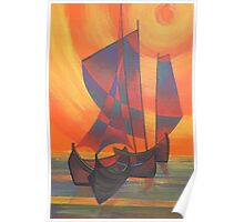 Red Sails in the Sunset Cubist Junk Abstract Poster