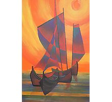 Red Sails in the Sunset Cubist Junk Abstract Photographic Print