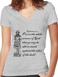 EPHESIANS 6:11  ARMOUR OF GOD Women's Fitted V-Neck T-Shirt