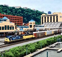 Pittsburgh PA - Freight Train Going By Station Square by Susan Savad