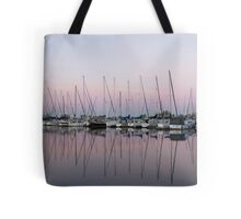 Marina in Pink - Peaceful Boat Reflections Tote Bag