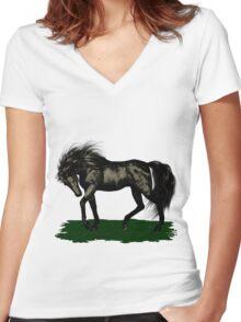 Ebony .. black stallion Women's Fitted V-Neck T-Shirt