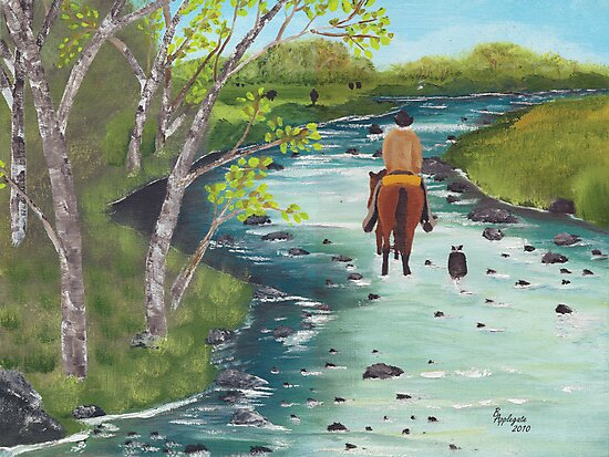 Up the Creek - Western Landscape - Oil Painting by Barbara Applegate