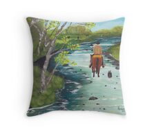 Up the Creek - Western Landscape - Oil Painting Throw Pillow