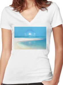 Postcard from Crane Bay in Barbados, Caribbean Women's Fitted V-Neck T-Shirt