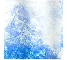 Blue Abstract Cracked Ice Poster