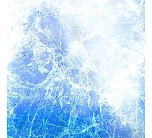 Blue Abstract Cracked Ice Photographic Print
