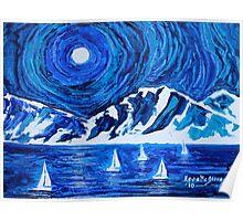 moonlight sailing on the great salt lake..... Poster